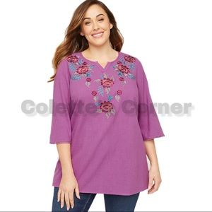 Magenta Embroidered Floral Peasant Tunic Gauze Top